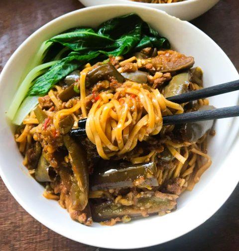 One-Pan Eggplant Noodles (茄子焖面)