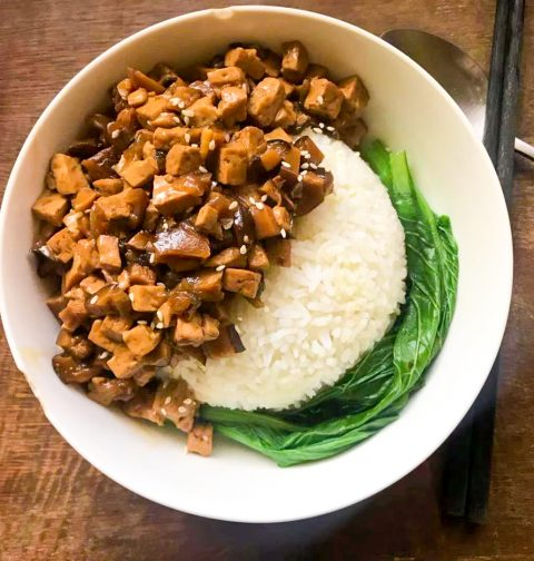 Braised Tofu & Mushroom Rice 素卤肉饭 卤豆腐