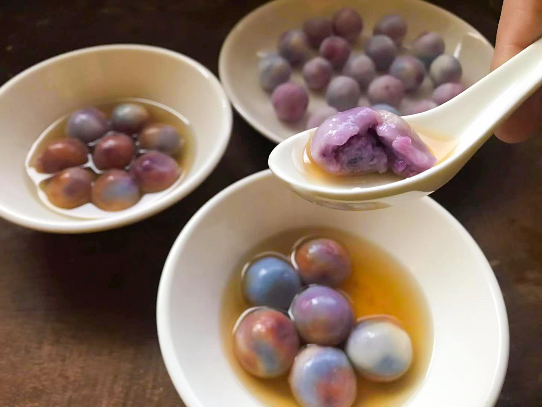 Glutinous Rice Balls with Ube (芋香汤圆) - Vegan Recipes