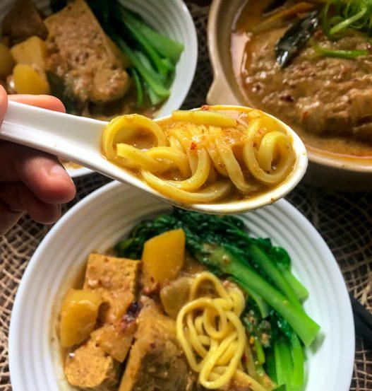 Vegan Chicken Curry Noodle Soup