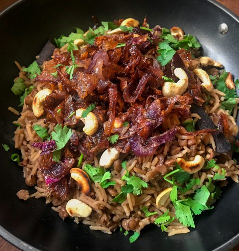 Mujadara Lentils, Rice and Caramelized Onions