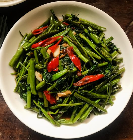 Pak Boong Fai Daeng   Stir-Fried Water Spinach Kang Kong